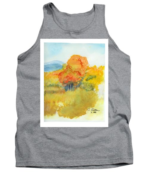 Tank Top featuring the painting Fall Trees 2 by C Sitton