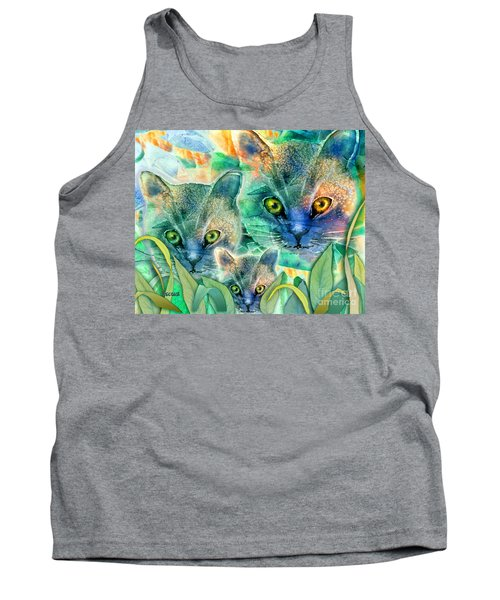 Tank Top featuring the painting Feline Family by Teresa Ascone