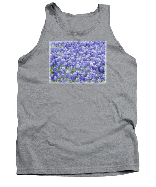 Tank Top featuring the photograph Field Of Bluebonnets by Kathy Churchman