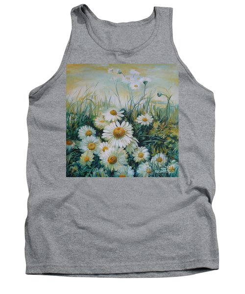 Tank Top featuring the painting Field Of Flowers by Elena Oleniuc
