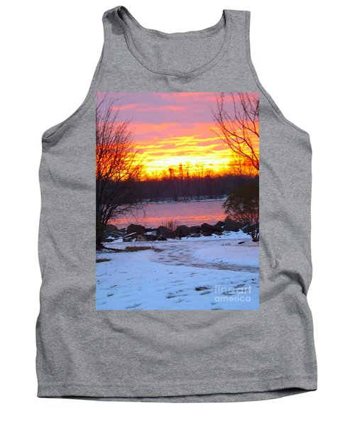 Fire And Ice Sunrise On The Delaware River Tank Top