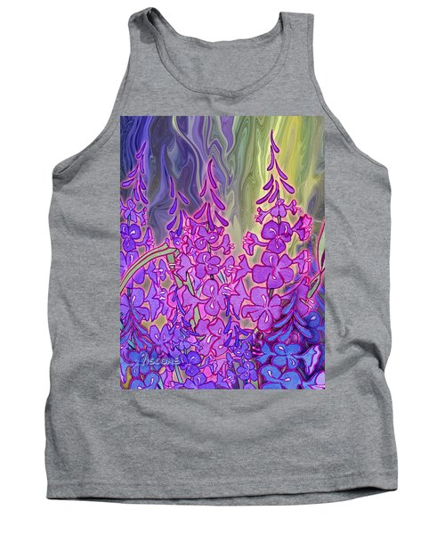 Tank Top featuring the mixed media Fireweed Medley by Teresa Ascone