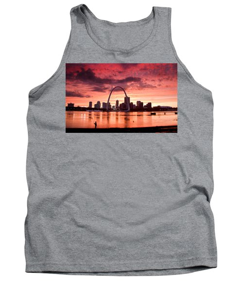 Fishing The Mississippi In St Louis Tank Top by Garry McMichael