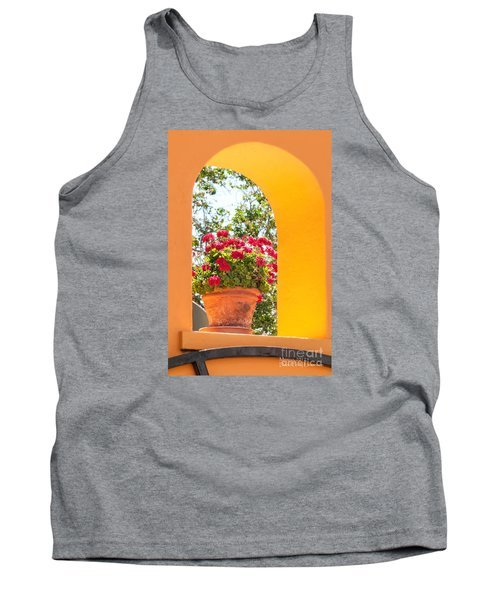 Tank Top featuring the photograph Flowerpot In A Mexican Wall by David Perry Lawrence