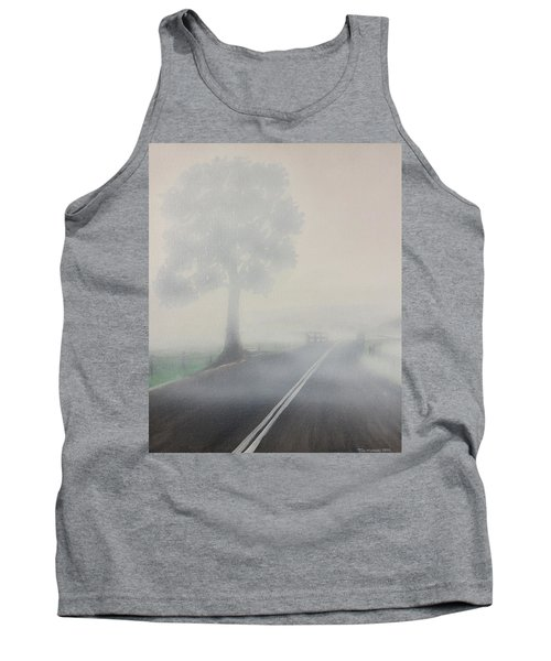 Tank Top featuring the painting Foggy Road by Tim Mullaney
