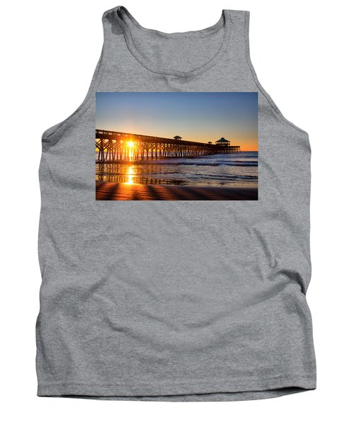 Folly Beach Pier At Sunrise Tank Top by Lynne Jenkins