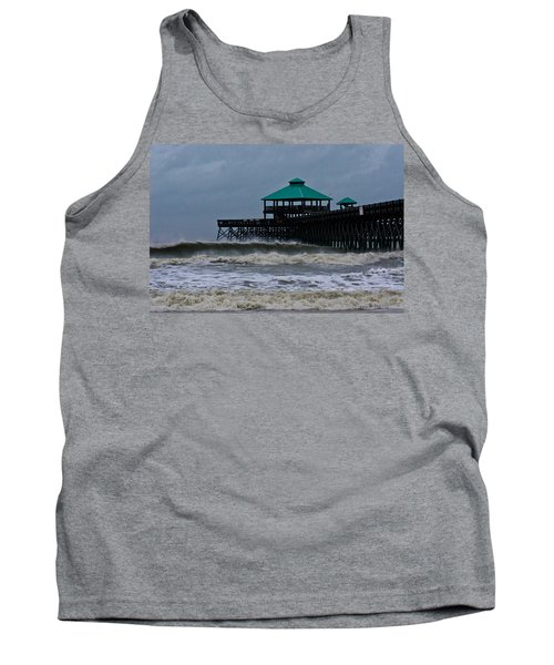 Folly Beach Pier During Sandy Tank Top