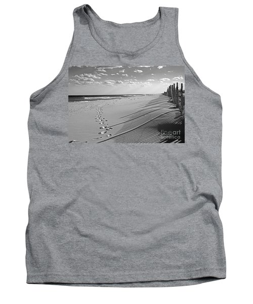 Tank Top featuring the photograph Footprints In The Sand by Debra Fedchin