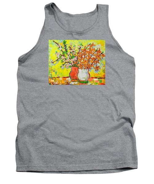Forsythia And Cherry Blossoms Spring Flowers Tank Top