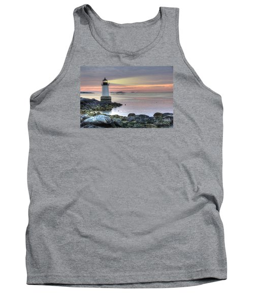 Fort Pickering Lighthouse At Sunrise Tank Top by Juli Scalzi