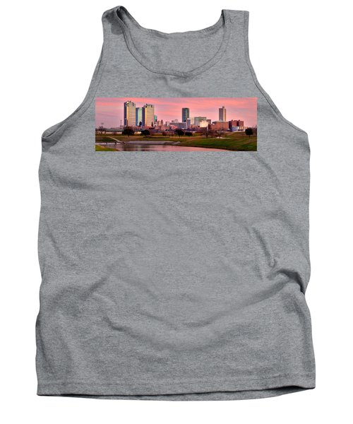 Tank Top featuring the photograph Fort Worth Skyline At Dusk Evening Color Evening Panorama Ft Worth Texas  by Jon Holiday