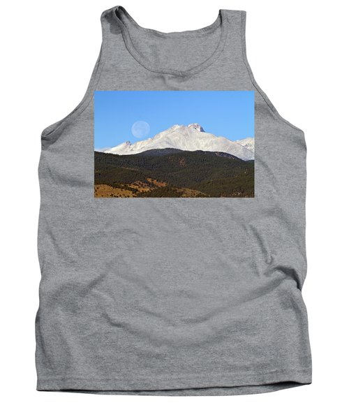 Full Moon Setting Over Snow Covered Twin Peaks  Tank Top
