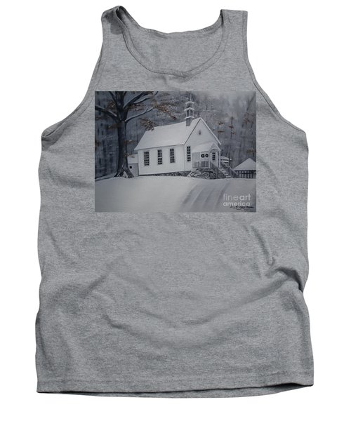 Tank Top featuring the painting Gates Chapel - Ellijay - Signed By Artist by Jan Dappen