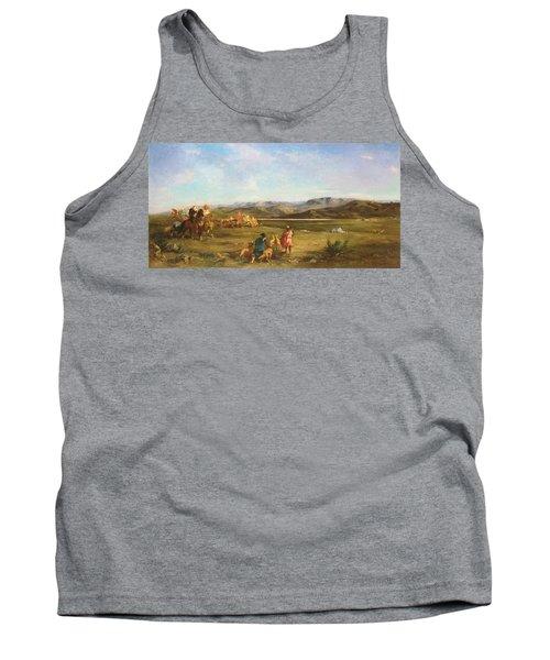 Gazelle Hunt In Chott El-hodna, 1856 Oil On Canvas Tank Top