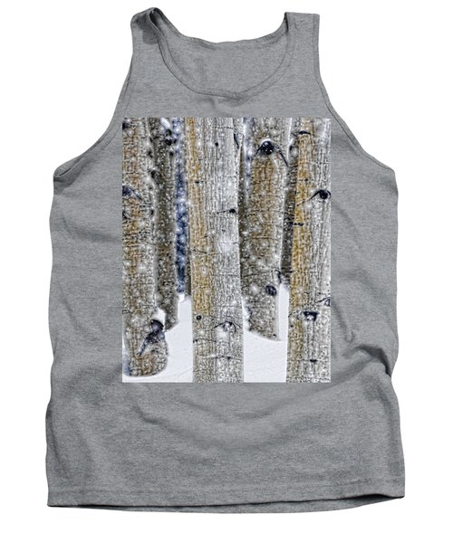 Gently Falling Forest Snow Tank Top by Don Schwartz