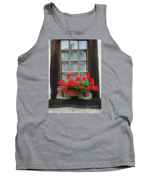 Geraniums In Timber Window Tank Top