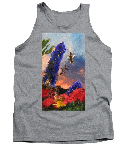 Geraniums Red And Delphiniums Blue Tank Top