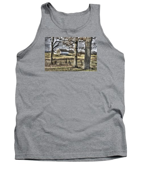 Tank Top featuring the photograph Gettysburg At Rest - Winter Muted Edward Mc Pherson Farm by Michael Mazaika