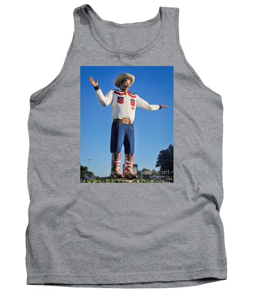 Giant Cowboy Big Tex State Fair Of Texas Tank Top by David Perry Lawrence