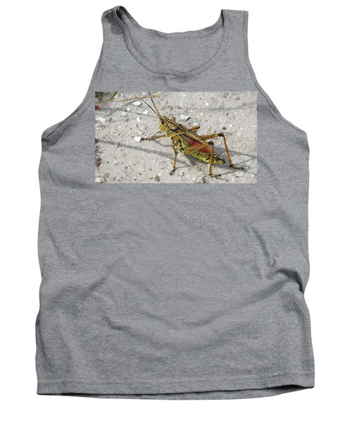 Tank Top featuring the photograph Giant Orange Grasshopper by Ron Davidson
