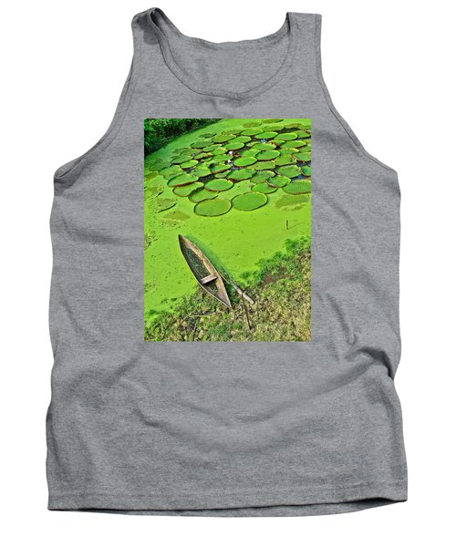 Giant Water Lilies And A Dugout Canoe In Amazon Jungle-peru Tank Top
