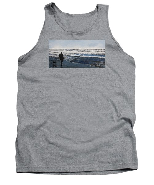 Girl And Dog Walking On The Beach Tank Top by Ian Donley