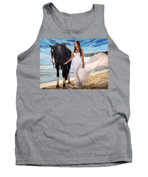 Tank Top featuring the painting Girl And Horse On Beach by Tim Gilliland