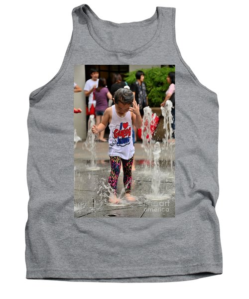 Girl Child Plays With Water At Fountain Singapore Tank Top