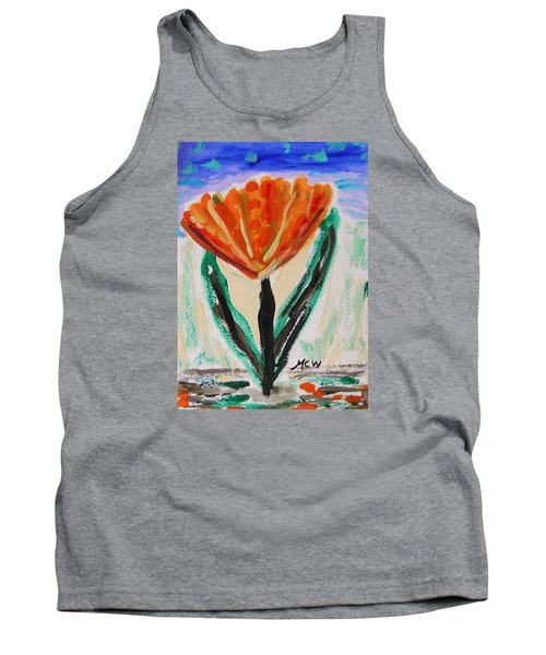 Tank Top featuring the painting Girl-flowers From The Flower Patch by Mary Carol Williams