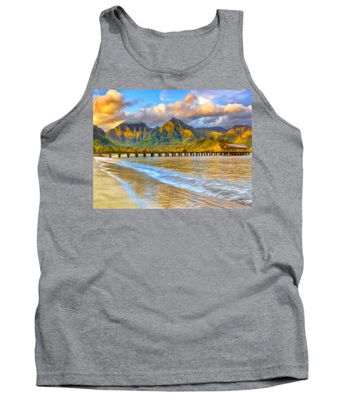 Golden Hanalei Morning Tank Top by Dominic Piperata