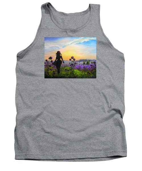 Tank Top featuring the painting Golden Surrender by Vesna Martinjak