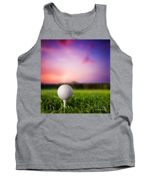 Golf Ball On Tee At Sunset Tank Top