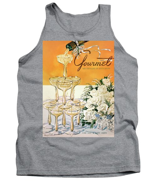 Gourmet Cover Featuring A Pyramid Of Champagne Tank Top
