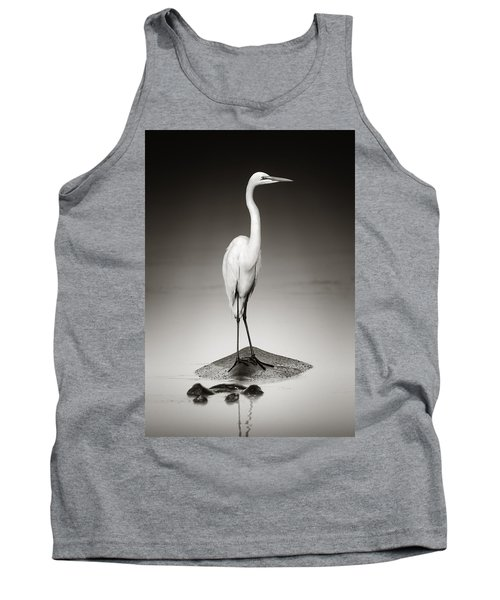 Great White Egret On Hippo Tank Top by Johan Swanepoel