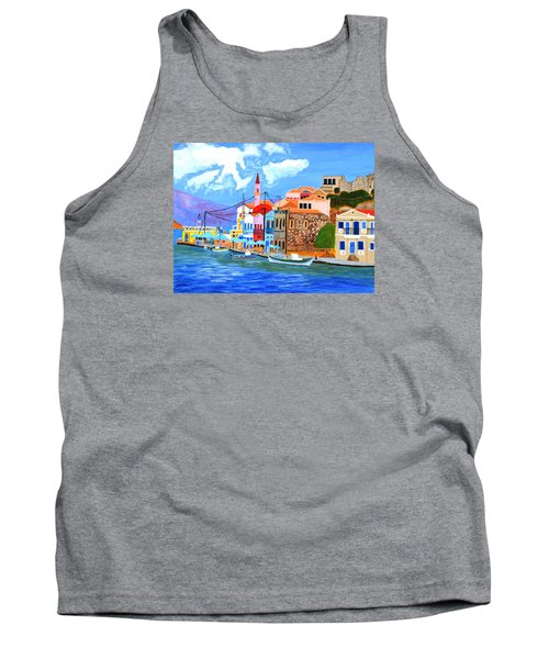 Tank Top featuring the painting Greek Coast by Magdalena Frohnsdorff