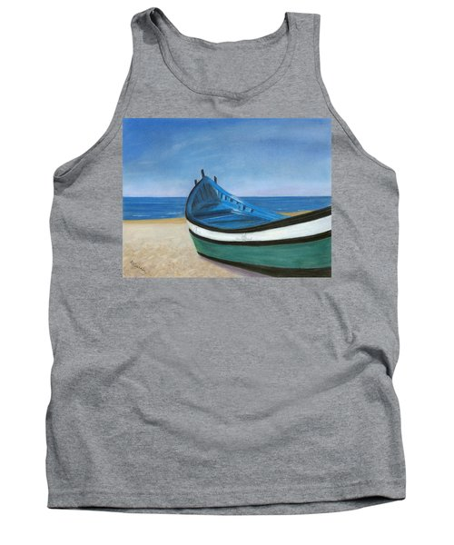 Tank Top featuring the painting Green Boat Blue Skies by Arlene Crafton