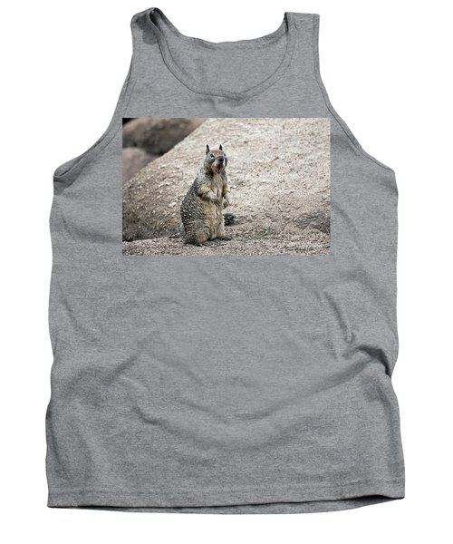 Tank Top featuring the photograph Ground Squirrel Raising A Ruckus by Susan Wiedmann