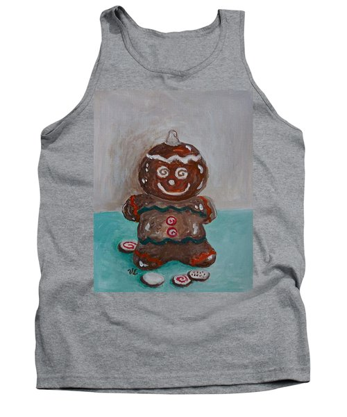 Happy Gingerbread Man Tank Top by Victoria Lakes
