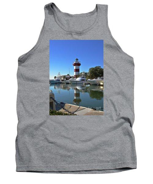 Harbor Town Lighthouse Tank Top by Carol  Bradley