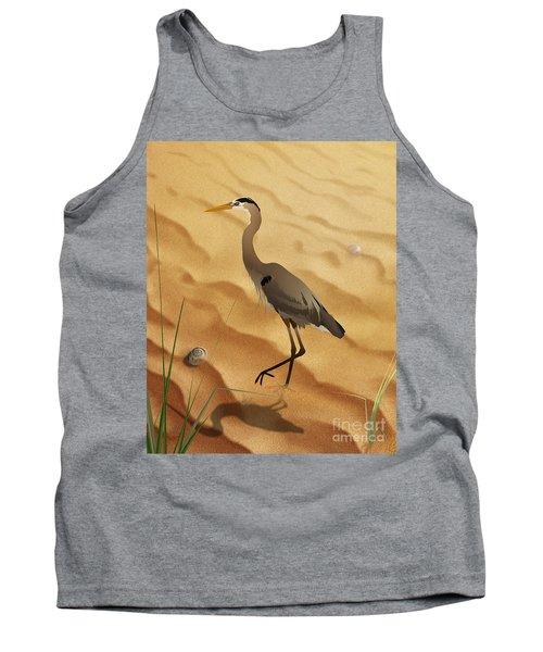 Heron On Golden Sands Tank Top