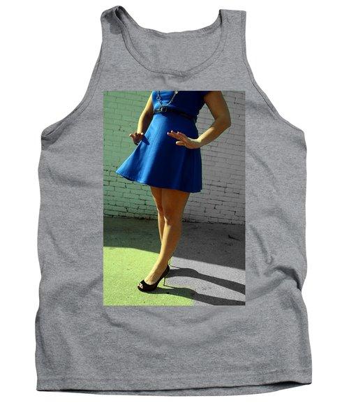 High Heels And A Blue Skirt Tank Top