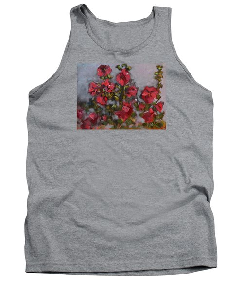 Tank Top featuring the painting Hollyhocks by Pattie Wall
