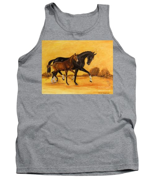 Tank Top featuring the painting Horse - Together 2 by Go Van Kampen