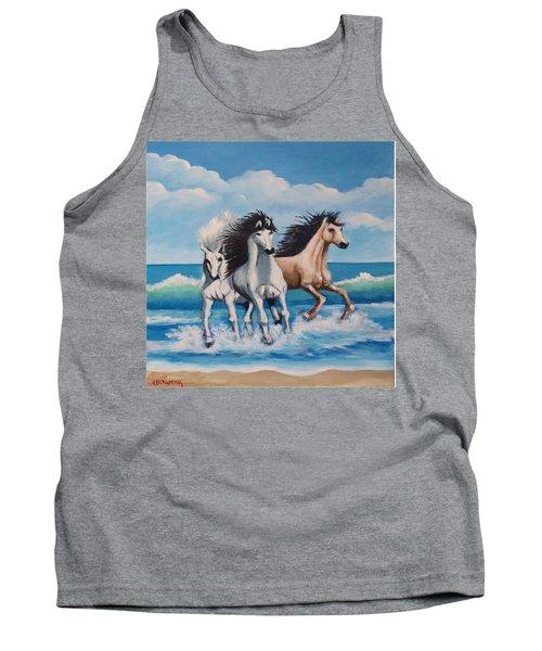 Horses On A Beach Tank Top