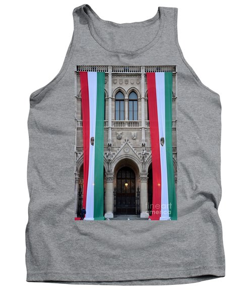 Hungary Flag Hanging At Parliament Budapest Tank Top by Imran Ahmed