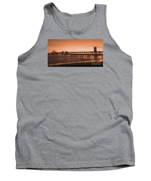 Huntington Beach Pier - Twilight Sepia Tank Top