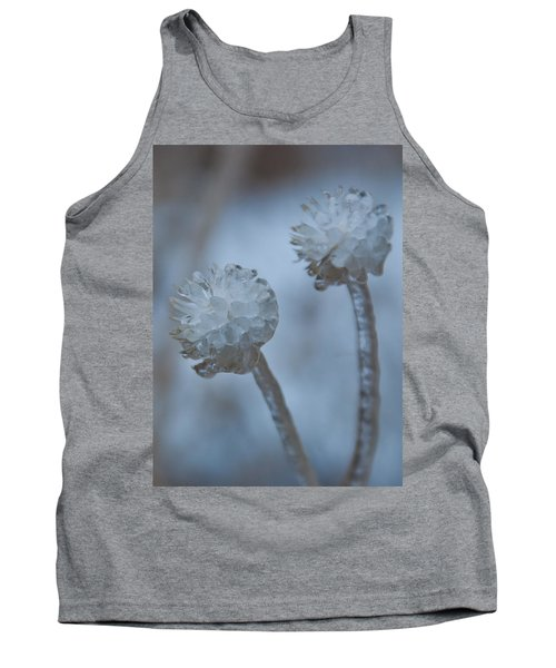 Ice-covered Winter Flowers With Blue Background Tank Top