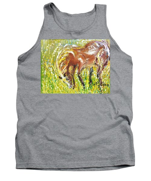 Tank Top featuring the painting In The Field by Evelina Popilian