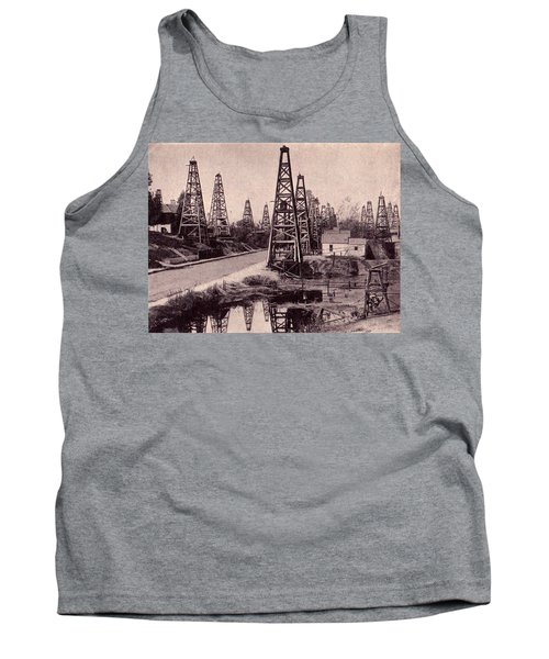 Tank Top featuring the drawing Indiana Petroluem Wells Circa 1900 by Peter Gumaer Ogden