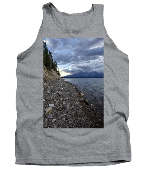 Jackson Lake Shore With Grand Tetons Tank Top by Belinda Greb